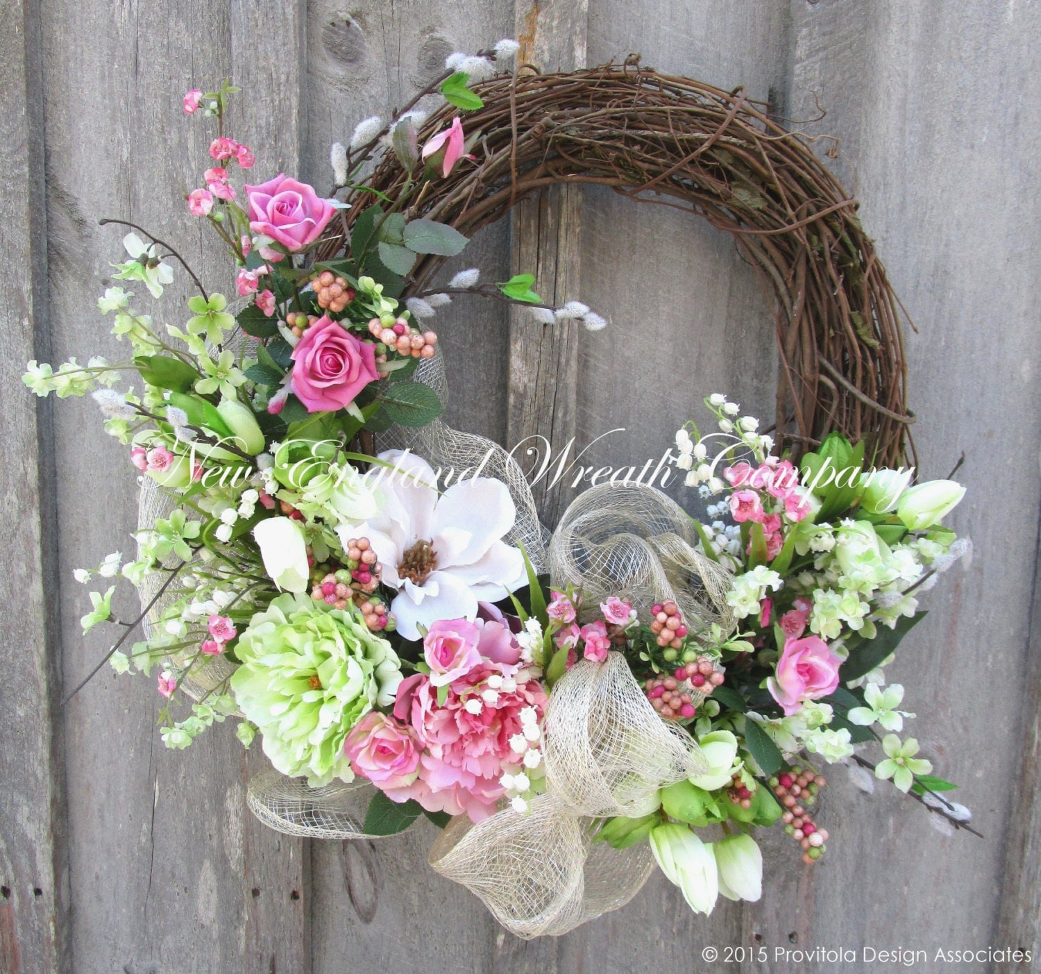 Spring Medley Silk Flower Spring Door Wreath - 22 inch ... |Spring Flower Wreath