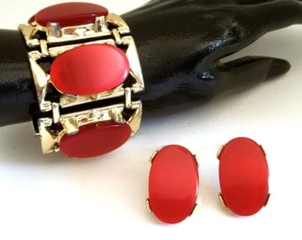 Lipstick Red Thermoset Bracelet Earrings Set Signed PAM
