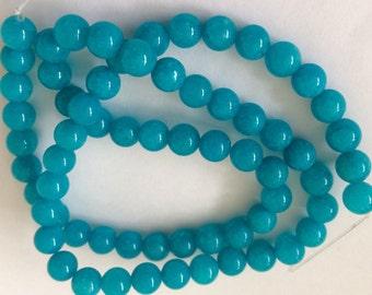 TEAL JADE  6 MM  Beads - 65 Beads