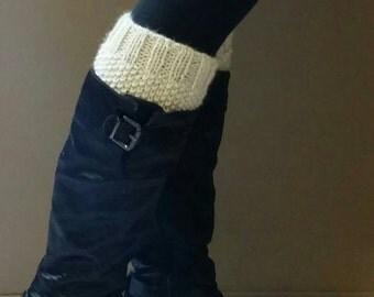 Seed Stitch Knit Boot Cuffs Cream- faux leg warmers boot socks