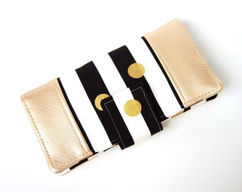 Women's Bifold Wallet - Slim Wallet - Smart Phone - Wristlet Option - Black and White Stripes Double Dipped in Gold -Choice of Accent Fabric