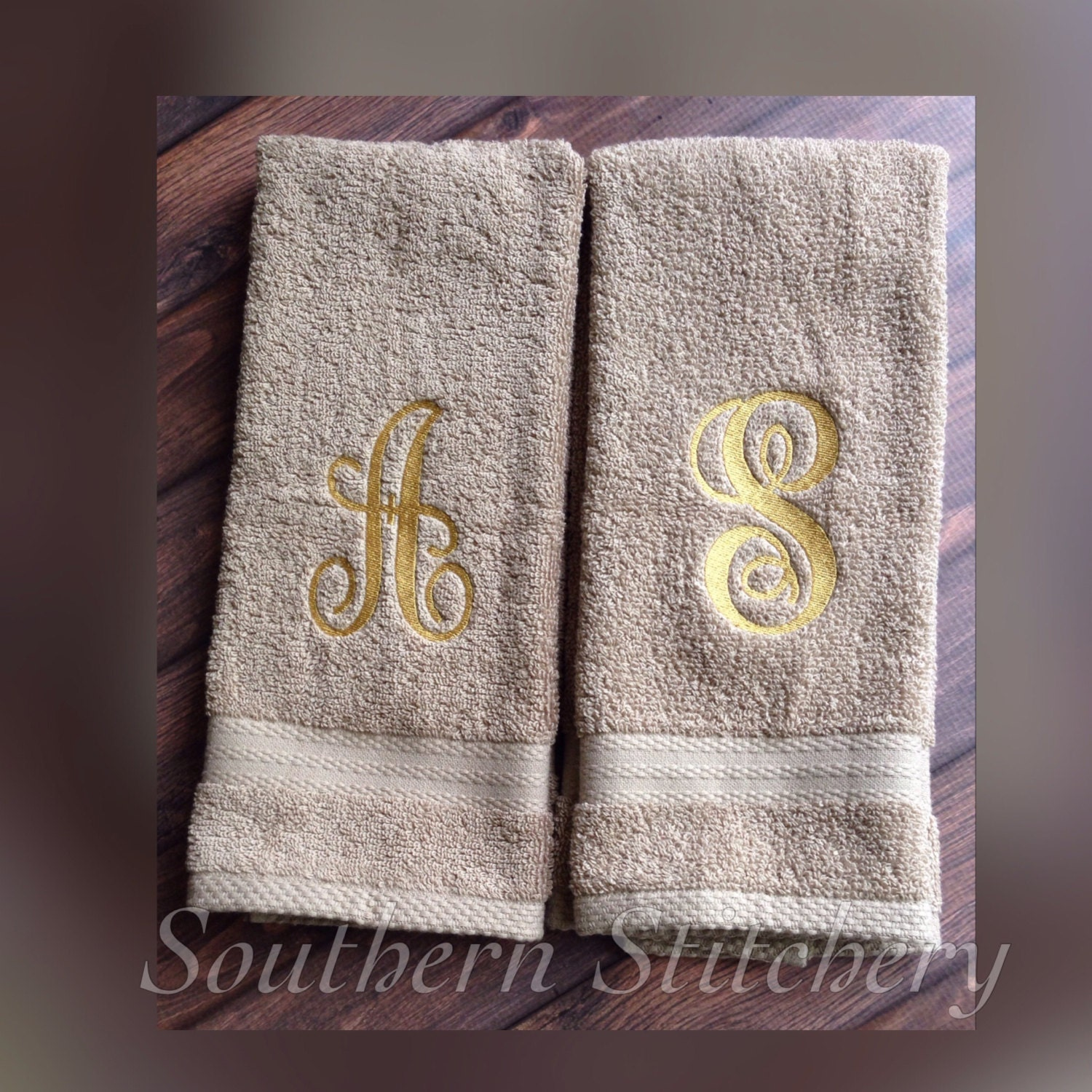Monogram Hand Towels Guest Towel Initial Personalized Any