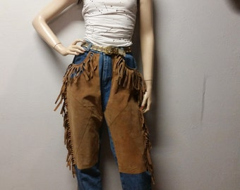 Vintage 80's High Waisted Blue Jeans Denim and Suede leather Waist 29""
