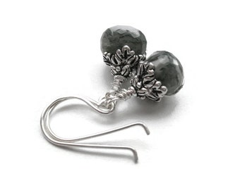 The Greenman Whispers in Your Ear. Everyday Moss Agate earrings in Silver