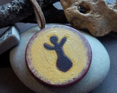 Cave Art Inspired Earth Mother Pachamama Earth Goddess Painted Wood Pendant