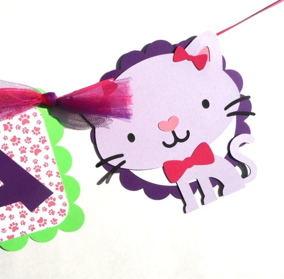 Cat Birthday Banner: Puppy Dog And Kitty Cat Party Birthday Name Banner Cute Girly