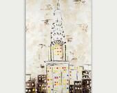Original New York Abstract Modern Painting Art On Canvas Chrysler Building Home Decor