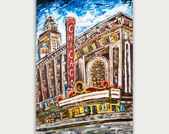 Original Chicago Colorful Contemporary Art, Textured, Impasto, Oil Painting On Canvas, Home Decor, Chicago Theater