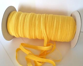 "3/8"" Fold Over Elastic Yellow daffodil #P645 Shiny FOE 3/8"" inch Baby Headbands Hair Ties Satin Elastic Soft stretch - 5 yds Skinny Elastic"