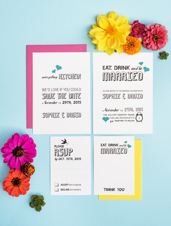Eat Drink and Be Married Casual Wedding Invitation printable Set 4