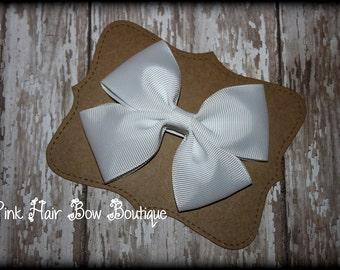 White Hair Bow, White Hair Clip,  White Boutique Hair Bow, White Bow, White, Hair Bow, Hair Clip, White Baby Hair Clip, Baptism Hairbow