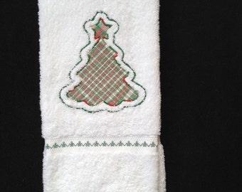 Christmas Tree Embroidered Bath Hand Towel.  Christmas tree embossed, Christmas tree decor, Christmas tree towel, Christmas modern
