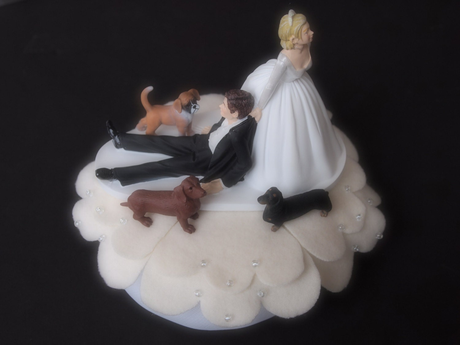 Wedding Cake Topper ical Bride and Groom 3 Dogs Brown and
