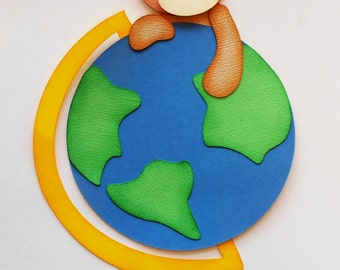 Premade Paper Piecing for Scrapbook Page School Bear with Globe Handmade