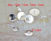 10Pairs 20pcs Ear Stud Trays Silver Plated Ear Tray Fit 8mm/10mm /12mm/14mm/16mm Circle Cabochon smooth Pad Ear Base Set Fitting Ear Stud