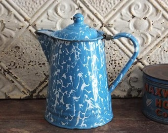 Vintage Blue White Enamelware Coffee Pot