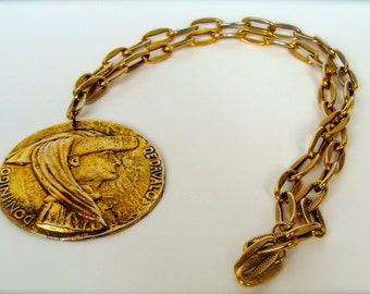 Vintage Necklace with Spanish Medallion and Chunky Gold Chain