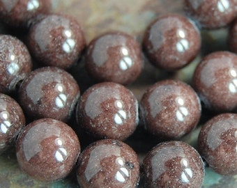 8mm Mashan  Jade Beads Coconut Brown Opaque Smooth - 15.5 inch strand