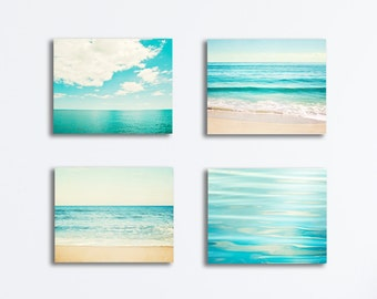 Ocean Canvas Set - seascape photography aqua blue beach canvases turquoise teal sea landscapes coastal gallery wraps nautical photo prints