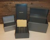 3 Vintage 50s Industrial Metal File Boxes Steelmaster Gray Office Supplies