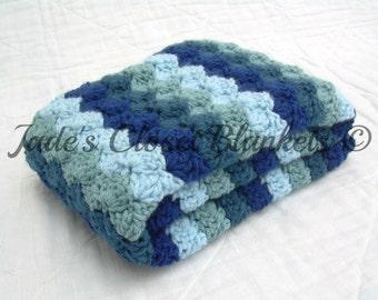 Crochet Baby Blanket, Baby Blanket, Crochet Blue Baby Blanket, Hues of Blues, travel stroller size