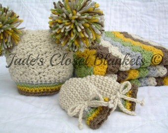 Baby Gift Set, Crochet Baby Travel Blanket, Pom Pom Hat, and Thumbless Mittens Gift Set, Neutral Colors, yellow, brown, grey, tan, and green