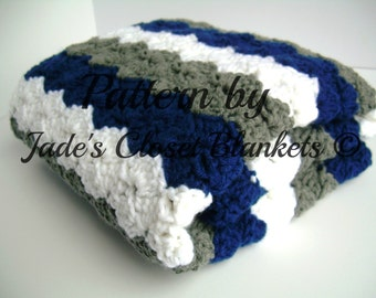 Crochet Baby Blanket Pattern, Instant Download, Blue, Grey, and White, Crib size and Travel size included