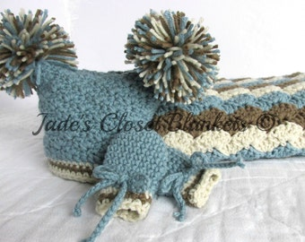 Baby Boy Gift Set, Crochet Baby Travel Blanket, Pom Pom Hat, and Thumbless Mittens Gift Set, Azure Blue, Chocolate Brown, and Off White