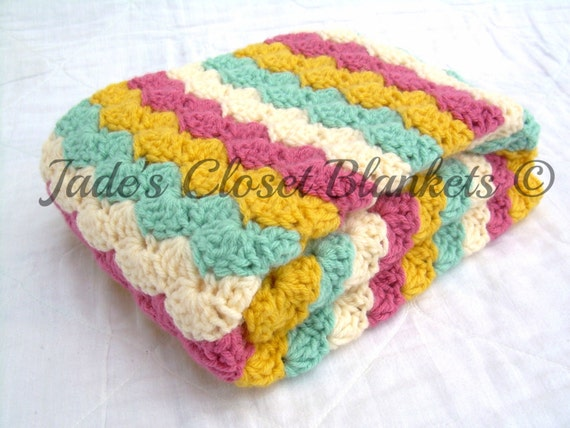 Crochet Baby Blanket, Baby Blanket, Crochet Baby Girl Blanket, Pink, Light Sage, Sunflower, and Cream, crib size