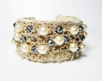Cuff Bracelet - Vintage Assemblage Handmade Bracelet Faux Pearl and Faux Italian Suede in Buff Chamois