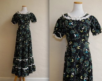 Whimsical Vintage Late 30s Deco Deer Print Long Dress