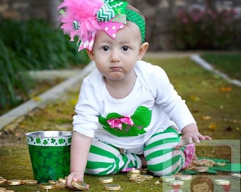 St. Patrick's Day Outfit -- Irish Sweetie -- Shamrock bodysuit, leg warmers and Over The Top bow in hot pink and green