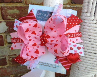 Valentine Bow - Hugs and Kisses Over the Top Bow with Headband
