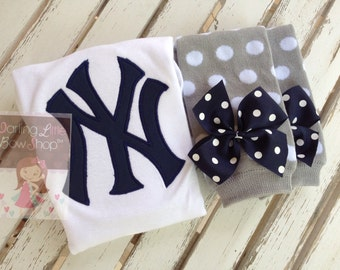 New York Yankees outfit for baby boy or girl -- bodysuit and leg warmers with baseball on the butt -- navy and gray