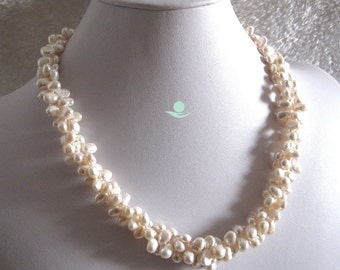 Pearl Necklace - 20 Inches 5-7mm White Baroque 3Row SQ Freshwater Pearl Necklace - Free Shipping