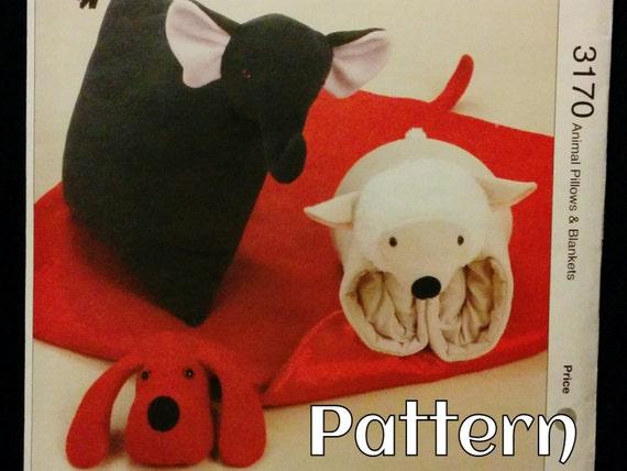 Animal Pillow Patterns To Sew : Animal Blanket & Pillow Pattern Kwik Sew 3170 by RavensTrove