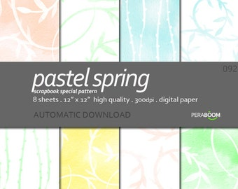 Digital patterns Pastel Spring Graphic Backgrounds Pastel SCRAPBOOK Papers Instant Download