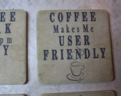 Coffee Lovers Decor - Sandstone Coasters SET of 4