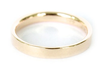 3mm 18K Band- 18K Solid Gold Ring- Flat Edge Wedding Band
