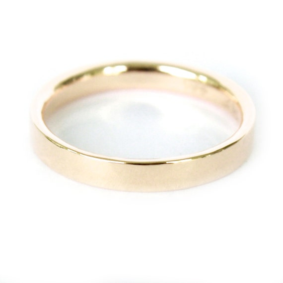 3mm 18K Band- 18K Solid Gold Ring- Flat Edge Wedding Band