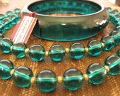Lucite Beads and Bangle Set Emerald Green Marvella New Old Stock