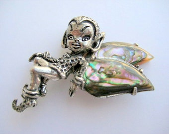 Sterling Silver Pixie Brooch By Cyvra Imp Fairy Brownie Abalone MOP