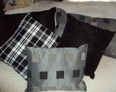 5 Throw Pillows- Black - White - Gray Tones