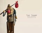 The Tramp - Polymer clay, wood, Handmade Sculpture, Art.