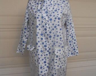 50s 60s Mod Rain Coat POLKA DOT Raincoat and Hat Set by Aqua-Sheen Medium