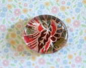 Clear glass round shape magnet handmade floral paper pink red green 1 1/2 inch cute gift favors fridge