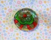 Clear glass round shape magnet handmade floral paper red green gold 1 1/2 inch cute gift favors fridge
