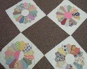 RESERVE for GUIA:  Four Vintage  Dresden Plate blocks - hand pieced and appliqued