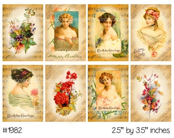 Vintage Collage, instant download, Vintage birthday images, vintage portraits, woman, florals--Digital Collage Sheet (8.5 by 11 inches) 1982