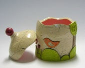 Lidded Jar with Birds and Tulips